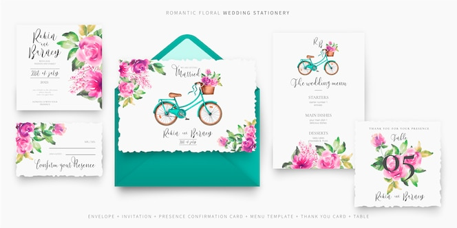 Leuke bruiloft briefpapier instellen met fiets en bloemen