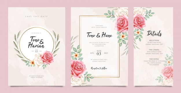 Leuke bruiloft kaart ingesteld sjabloon met mooie bloemen