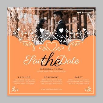 Leuke bruiloft vierkante flyer-sjabloon