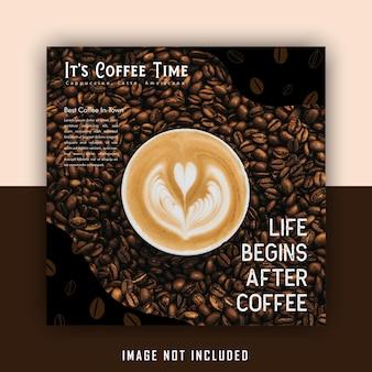 Leuke bruine drank coffeeshop social media postsjabloon