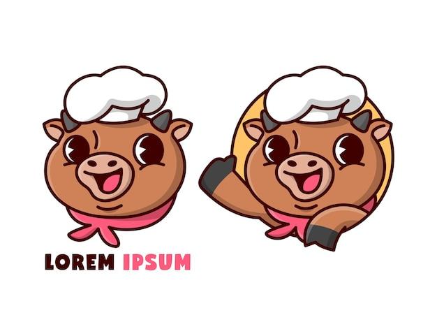 Leuke bruine stierchef die in cartoonstijl glimlacht