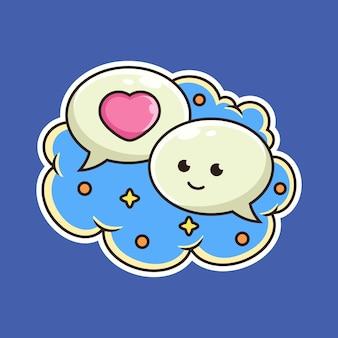 Leuke bubble chat cartoon. teken illustratie, geïsoleerd op blauwe achtergrond