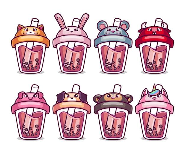 Leuke bubble tea animal character collection