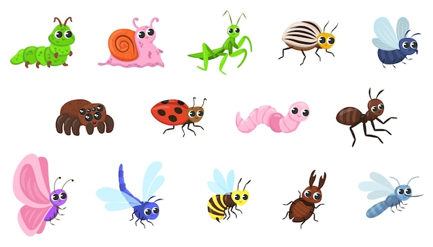 Leuke bug stripfiguren illustraties set