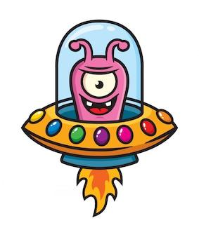 Leuke buitenaardse karakter illustratie