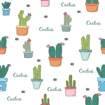 Leuke cactus herhaal naadloos patroon