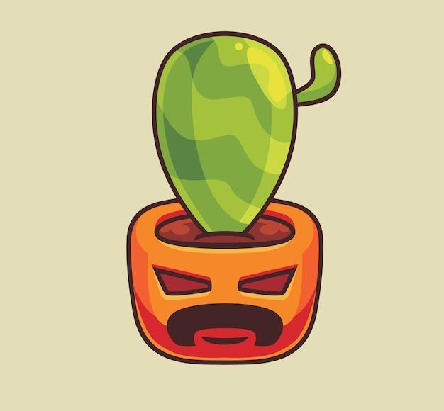 Leuke cactus met een pompoenpot geïsoleerde cartoon halloween illustratie flat style