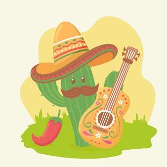 Leuke cactus met gitaar