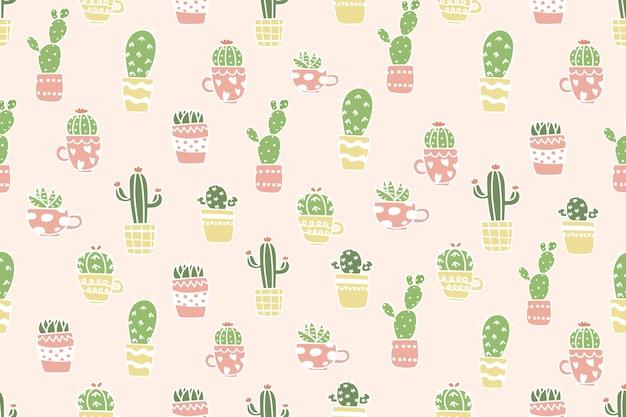 Leuke cactus op de achtergrond van het pottenpatroon.