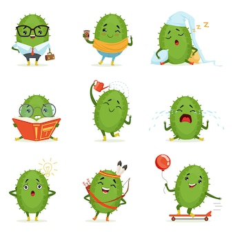 Leuke cactus stripfiguren set, cactussen activiteiten met verschillende emoties en poses, kleurrijke gedetailleerde illustraties