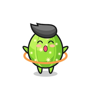 Leuke cactuscartoon speelt hoelahoep, schattig stijlontwerp voor t-shirt, sticker, logo-element