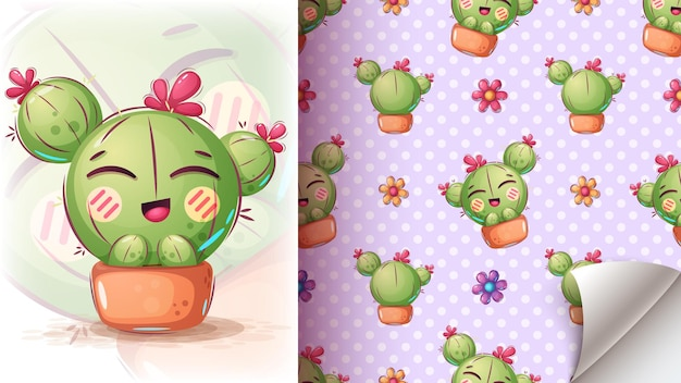 Leuke cactusillustratie - naadloos patroon