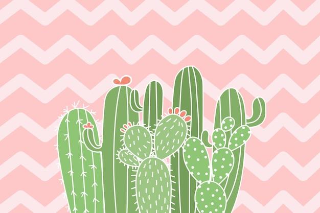 Leuke cactusillustratie op zigzagachtergrond.