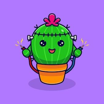 Leuke cactuszombie met elektriciteit. platte cartoon