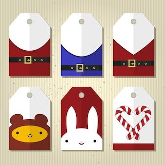 Leuke cadeau-tags voor kerstmis en nieuwjaar. plat ontwerp, vector illustratie