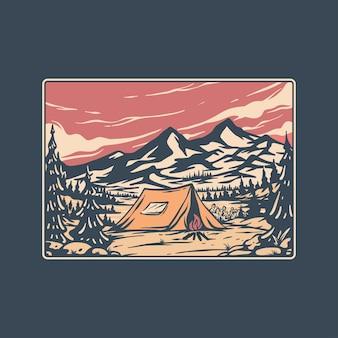 Leuke camping illustratie vector in retro stijl