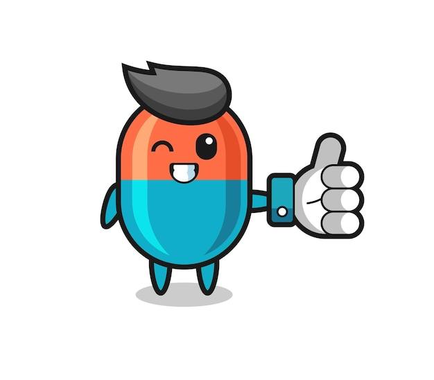 Leuke capsule met symbool voor sociale media duimen omhoog, schattig stijlontwerp voor t-shirt, sticker, logo-element