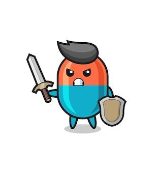 Leuke capsule-soldaat die vecht met zwaard en schild, schattig stijlontwerp voor t-shirt, sticker, logo-element
