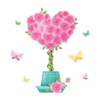 Leuke cartoon boom topiary van roze bloemen. illustratie
