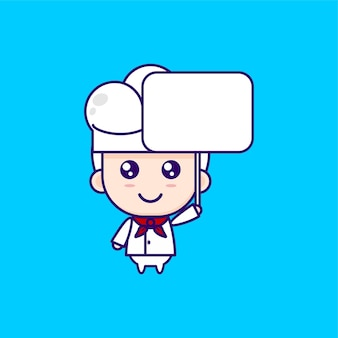 Leuke cartoon chef-kok illustratie chibi vector design