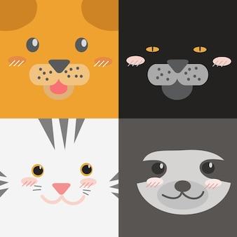 Leuke cartoon dieren gezichten collectie vierkante design stijl behang