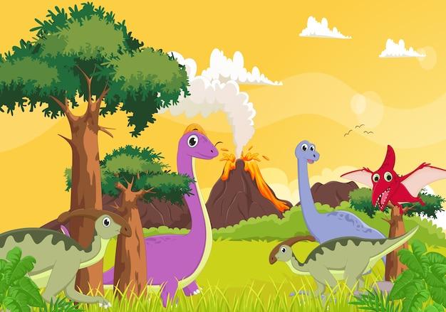 Leuke cartoon dinosaurus met vulkaan achtergrond