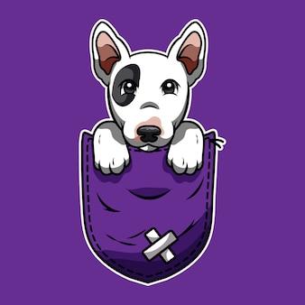 Leuke cartoon een bull terrier in een zak