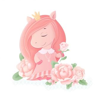 Leuke cartoon eenhoorn pony prinses sprookje met pioen bloemen