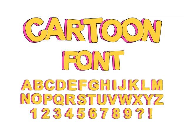 Leuke cartoon engelse lettertype voor kinderfeestjes, om prints en typografie te maken.