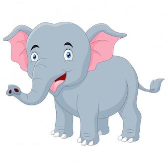 Leuke cartoon gelukkig olifant glimlach