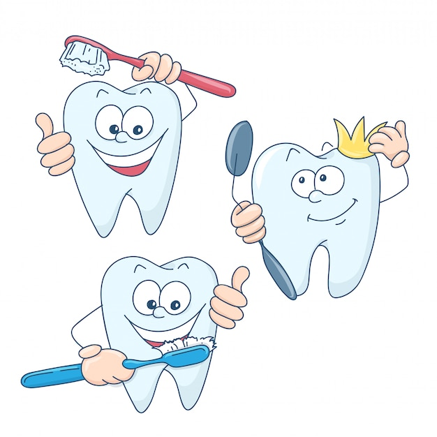 Leuke cartoon gezonde en mooie tanden.