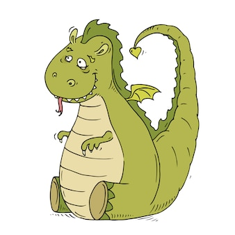 Leuke cartoon grote vriendelijke draak