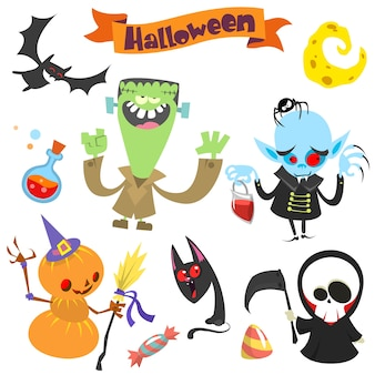 Leuke cartoon halloween tekens pictogramserie