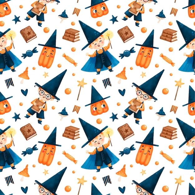 Leuke cartoon halloween tovenaar naadloos patroon