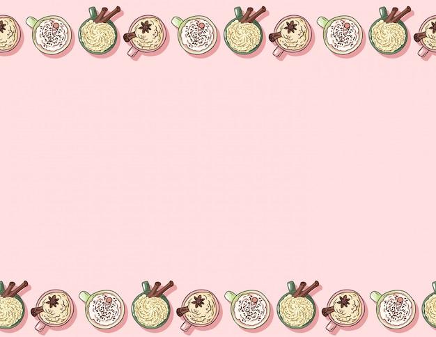 Leuke cartoon hand getekende kopjes lekkere koffie en cacao crème dranken naadloos patroon