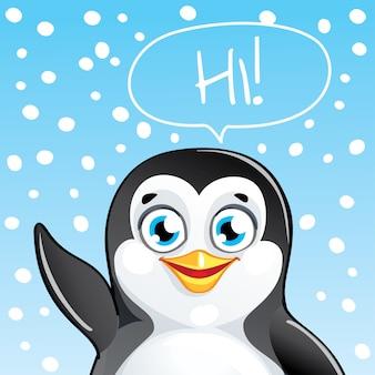 Leuke cartoon hapy leuke pinguïn. wenskaart, briefkaart. hoi