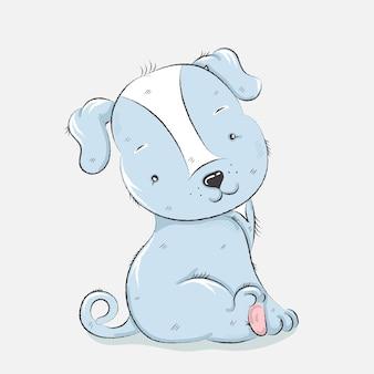 Leuke cartoon hond hand getrokken