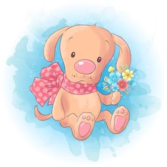 Leuke cartoon hond jongen met een boog en een boeket bloemen.