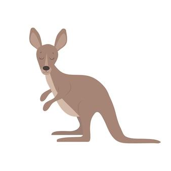Leuke cartoon kangoeroe vlakke stijl illustratie