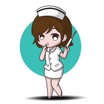 Leuke cartoon karakter verpleegster.