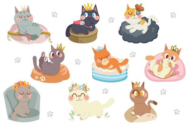 Leuke cartoon katten karakter met kronen pack