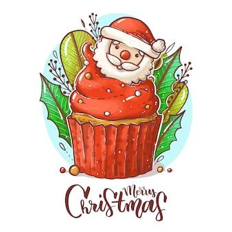 Leuke cartoon kerst cupcake met rode room, bladeren, takken, kraal. vrolijk kerstfeest Premium Vector