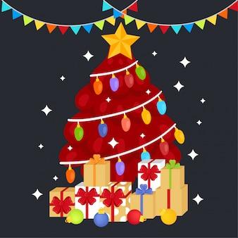 Leuke cartoon kerstboom.