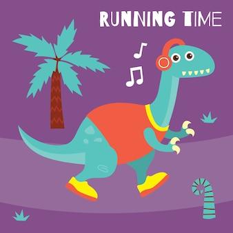 Leuke cartoon kleine dinosaurus in sportthema voor het ontwerp van de kinderent-shirt