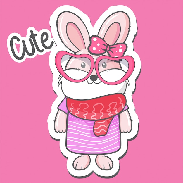 Leuke cartoon konijn meisje vectorillustratie