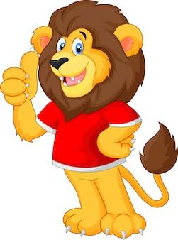 Leuke cartoon leeuw duim opgevend