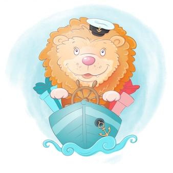 Leuke cartoon leeuw schip kapitein met geschenken op aquarel achtergrond.