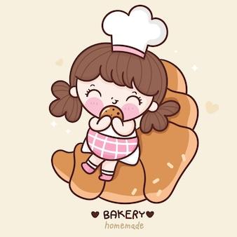 Leuke cartoon meisje chef-kok zitten op croissantsandwich kawaii bakkerij winkel logo