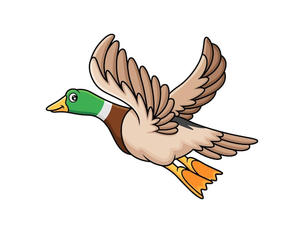Leuke cartoon met vliegende eend