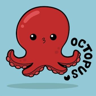Leuke cartoon met zeeleven met vocabulary octopus